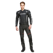 Sweep Chicane leather jacket, black/white