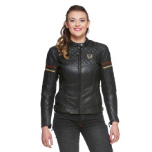 Sweep Amelia ladies leather jacket, black/beige/maroon